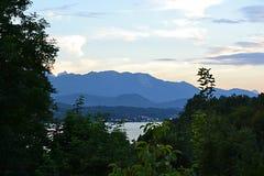 Austria, the border, vignette, eni, alpen, Alps, Vena, evening. Montana royalty free stock photos