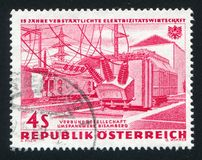 Bisamberg transformer plant. AUSTRIA - CIRCA 1962: stamp printed by Austria, shows Bisamberg transformer plant, circa 1962 Stock Photos