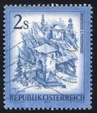 Postage stamp. AUSTRIA - CIRCA 1974: stamp printed by Austria, shows Inn Bridge, Alt Finstermunz, circa 1974 royalty free stock photos