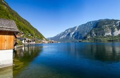 Austria. The city of Hallstatt, a beautiful, tourist city on the lake among the big mountains stock photo