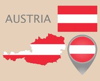 Austria flag, map and map pointer vector illustration