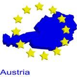 Austria contour. 3d contour of Austria with EU twelve yellow stars Royalty Free Stock Image