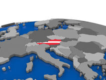 Austria on 3D globe. Map of Austria with embedded flag on globe. 3D illustration Royalty Free Stock Images