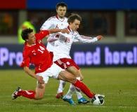 Austria - Denmark. VIENNA,  AUSTRIA - MARCH 3 Austria beats in Denmark 2:1 in a friendly match on March 3, 2010  in Vienna, Austria. Shown are midfielders Julian Stock Photos