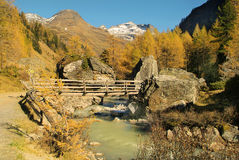 Austria, East Tyrol. Austria, creek and bridge in Glschloess valley, East Tyrol royalty free stock photography