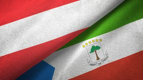Austria and Equatorial Guinea two flags textile cloth, fabric texture. Austria and Equatorial Guinea two folded flags together stock illustration