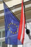 Austria EU Flags Stock Photography