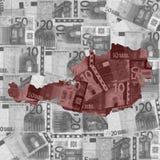 Austria euros map Royalty Free Stock Photo