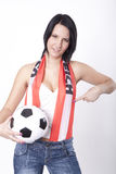 Austria fan. Girl wearing a scarf of Austria and holding football Royalty Free Stock Image