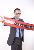 Austria fan. Man holding flag of Austria and showing victory sign Stock Photography