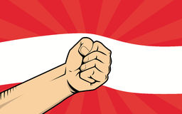 Austria fight protest symbol with strong hand and flag as background. Vector Royalty Free Stock Images