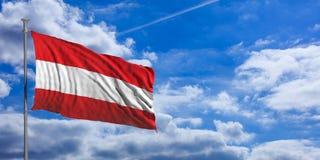 Austria flag on a blue sky background. 3d illustration Stock Photo