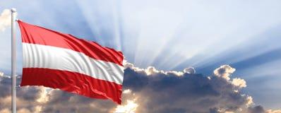Austria flag on blue sky. 3d illustration Stock Images