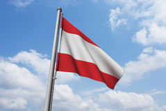Austria Flag with Clouds Royalty Free Stock Image
