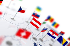 Austria flag in the focus. Europe map with countries flags Royalty Free Stock Images