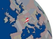 Austria with flag on globe Stock Photo