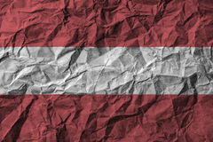 Austria flag with high detail of old dirty crumpled paper . Royalty Free Stock Images