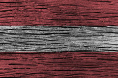 Austria flag with high detail of old wooden background . Stock Photo