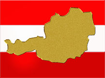 Austria flag and map Stock Photography