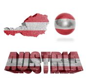 Austrian Symbols. Austria flag and map in different styles in different textures Royalty Free Stock Photography