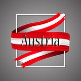 Austria flag. Official national colors. Austrian 3d realistic ribbon. Waving vector patriotic glory flag stripe sign. Vector illustration background. Icon Stock Images