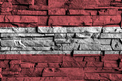 Austria flag painting on high detail of old brick wall . 3D illustration Stock Photos
