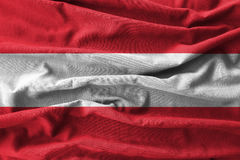 Austria flag painting on high detail of wave cotton fabrics . 3D illustration Stock Image