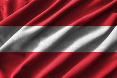 Austria flag painting on high detail of wave cotton fabrics . 3D illustration Stock Photo