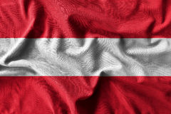 Austria flag painting on high detail of wave cotton fabrics . 3D illustration Stock Images
