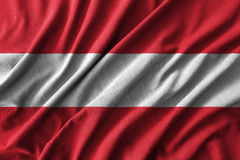 Austria flag painting on high detail of wave cotton fabrics . 3D illustration Royalty Free Stock Images