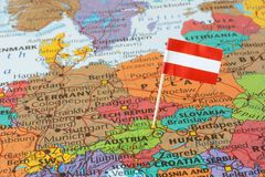 Austria flag pin on map. Flag of the republic of Austria on map Stock Photo
