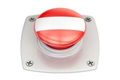 Austria flag push button, 3D Stock Photo