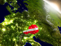 Austria with flag in rising sun Royalty Free Stock Image