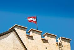 Austria Flag on Salzburg Castle Stock Photos