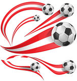 Austria flag  set with soccer ball. On white background Stock Images