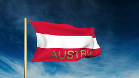 Austria flag slider style with title. Waving in stock video