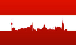 Austria flag with vienna silhouette Stock Photo