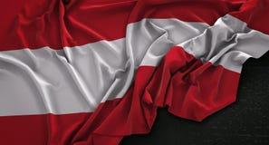 Austria Flag Wrinkled On Dark Background 3D Render Royalty Free Stock Photo