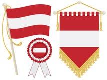 Austria flags. Austria flag, rosette and pennant, isolated on white Stock Photos