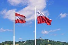 Austria flags Linz Royalty Free Stock Photos