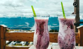 Austria - forest fruits milkshake in the cottage royalty free stock photography