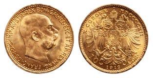 Austria gold coin 10 kronen vintage 1912 stock image