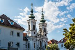 Austria.Graz. Church Mariahilf and square in center city royalty free stock photography