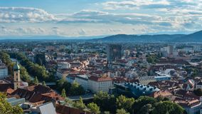 Austria.Graz. Church Mariahilf and square in center city stock images