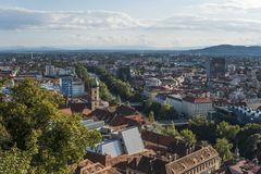 Austria.Graz. Church Mariahilf and square in center city royalty free stock image
