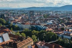 Austria.Graz September 2018. Panoramic view of the city and the Kunsthaus Graz-art Museum royalty free stock images