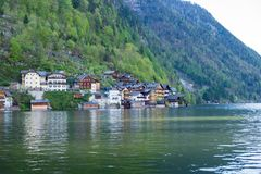 Austria Hallstatt, Klasyczny widok Hallstat wioska zdjęcie royalty free