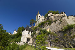 Austria - Hochosterwitz castle church. Hochosterwitz castle church and towers on the top part of the castle Stock Photos