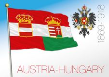 Austria and Hungary historical flag and crest Royalty Free Stock Image