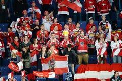 Austria Ice hockey fans. In Helsinki, Hartwall arena Royalty Free Stock Photo